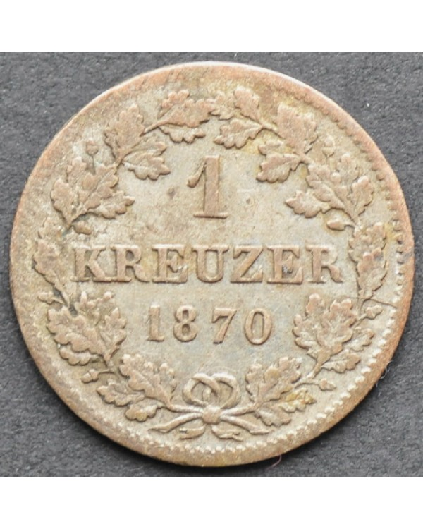 1 крейцер 1870 года Бавария