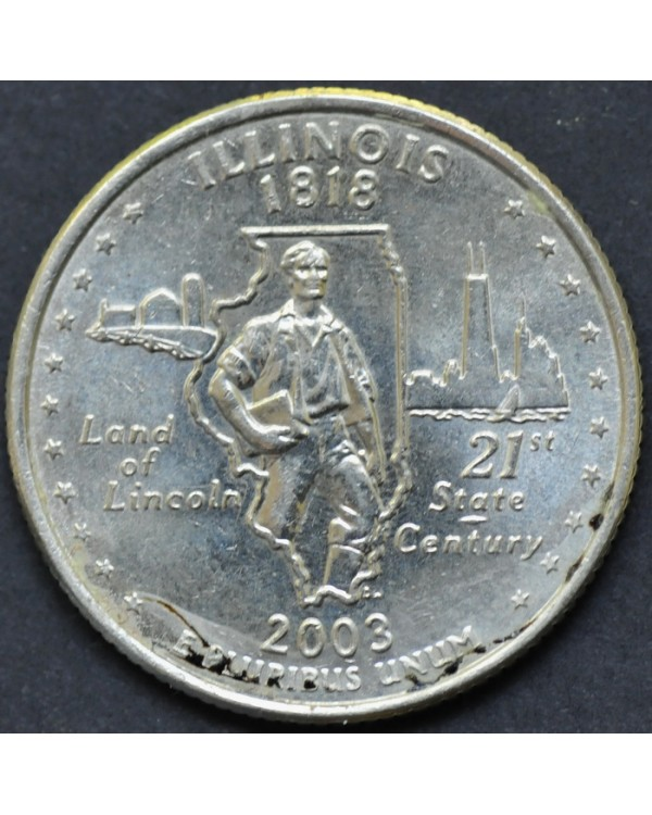 """25 центов (квотер) """"штат Иллинойс"""" 2003 года США"""