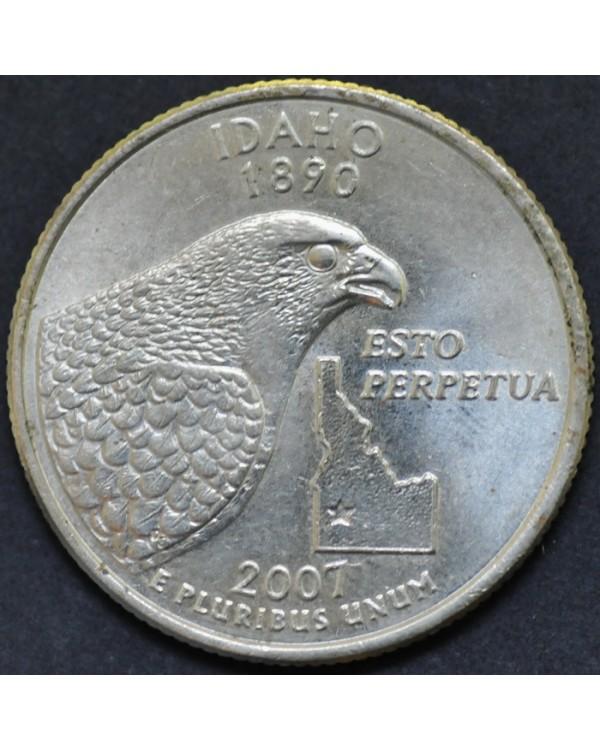 """25 центов (квотер) """"штат Айдахо"""" 2007 года США"""