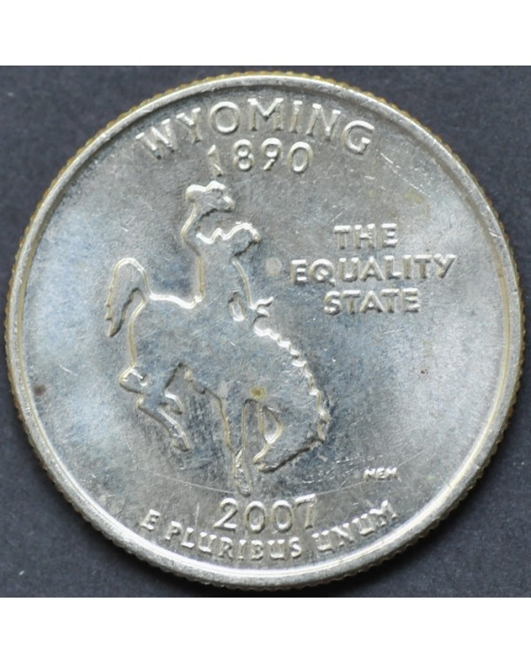 """25 центов (квотер) """"штат Вайоминг"""" 2007 года США"""