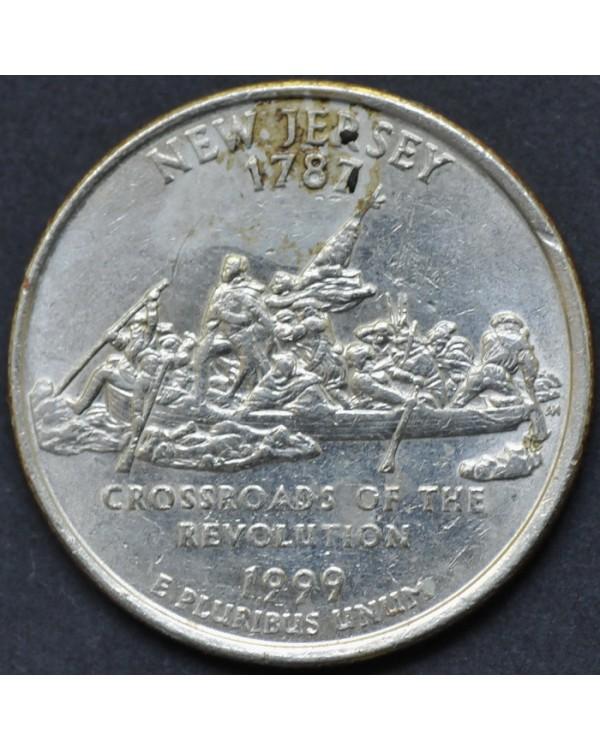 """25 центов (квотер) """"штат Нью-Джерси"""" 1999 года США"""