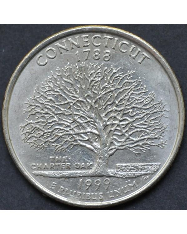 """25 центов (квотер) """"штат Коннектикут"""" 1999 года США"""