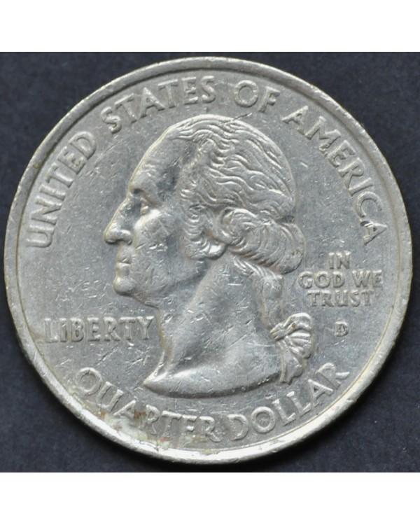 """25 центов (квотер) """"штат Род-Айленд"""" 2001 года США"""