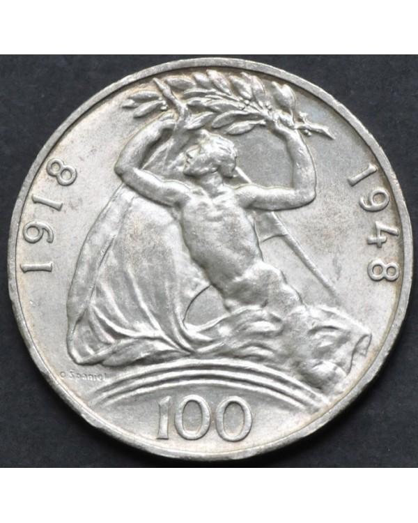"100 крон 1948 года Чехословакия ""30 лет Независимости"""
