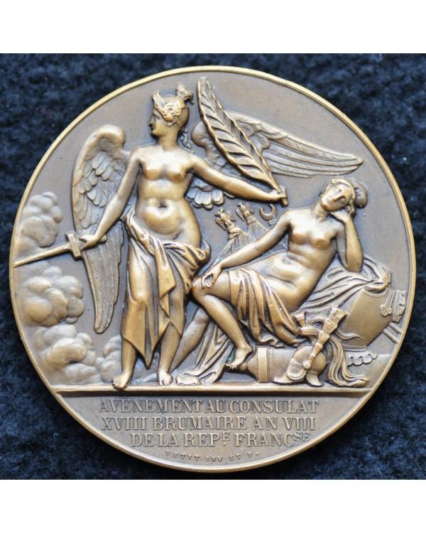Памятная медаль  Франции посвященная вступление Наполеона Бонапарта в должность премьер-консула Луи-Мишеля Пети