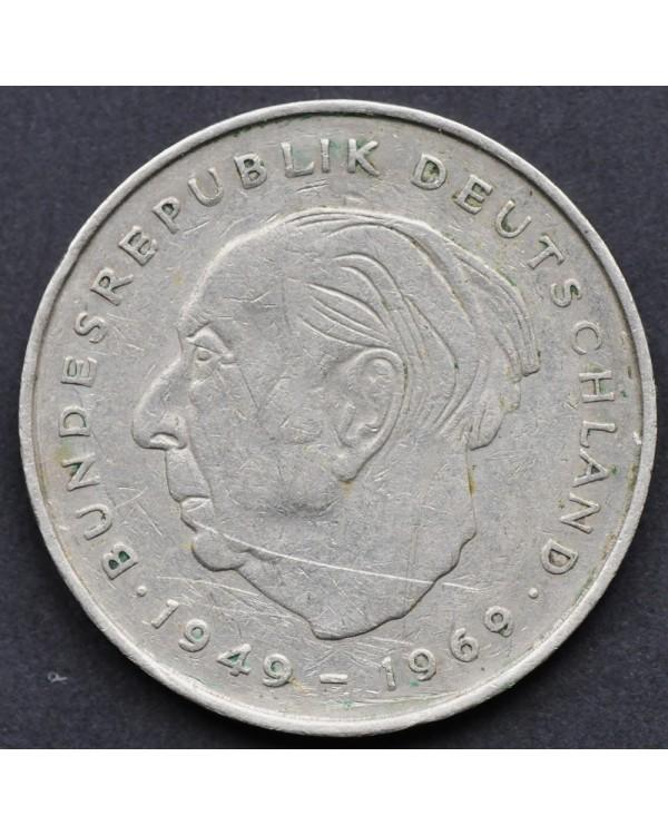 """2 марок 1972 года  ФРГ - """"Теодор Хойс, 20 лет Федеративной Республике (1949-1969)"""""""