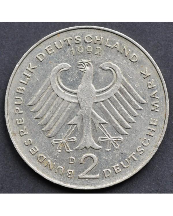 """2 марок 1992 года  ФРГ - """"Франц Йозеф Штраус, 40 лет Федеративной Республике (1949-1989)"""""""