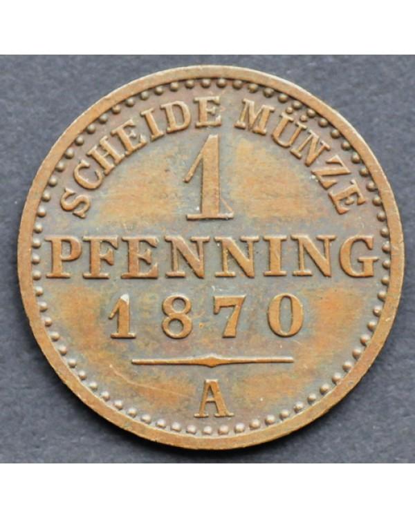 1 пфеннинг 1870 года Пруссия